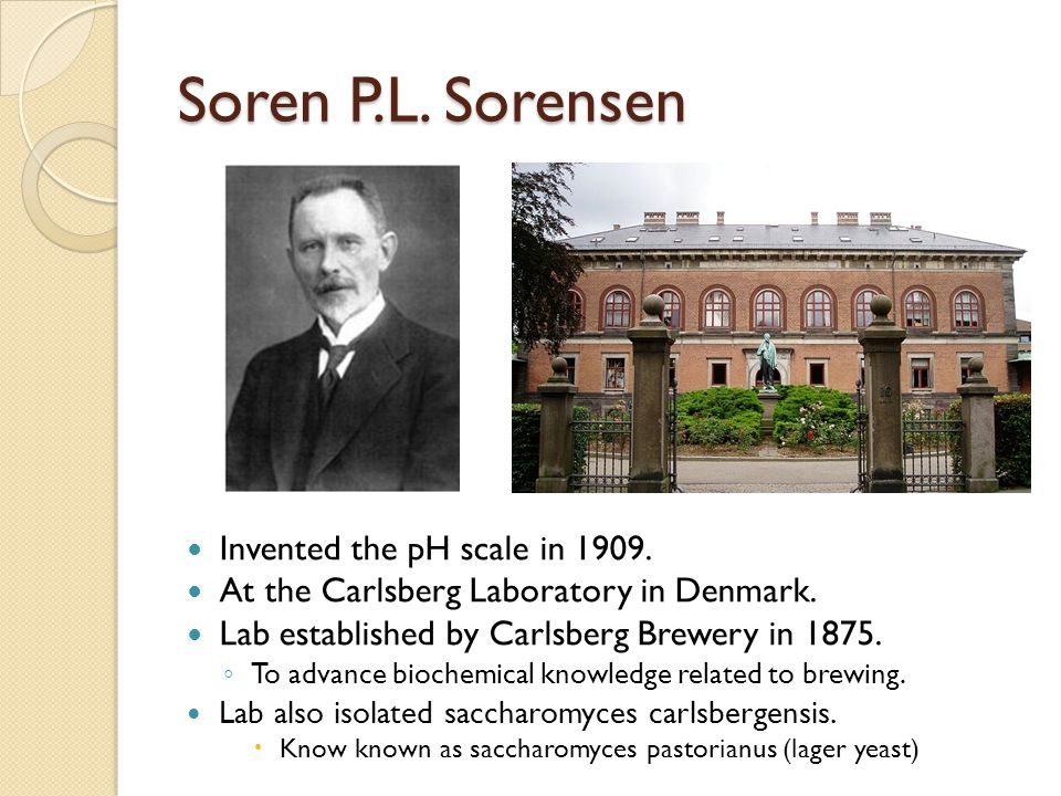 Soren P.L. Sorensen Invented the pH scale in 1909.