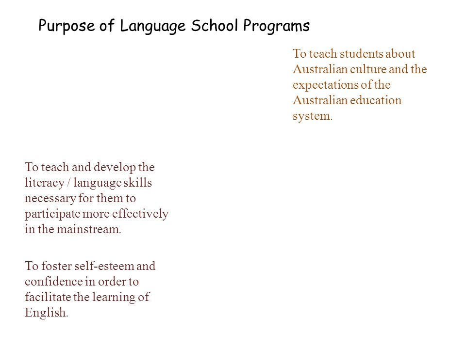 Purpose of Language School Programs To teach students about Australian culture and the expectations of the Australian education system.