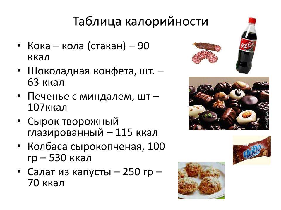 Таблица калорийности Кока – кола (стакан) – 90 ккал Шоколадная конфета, шт.