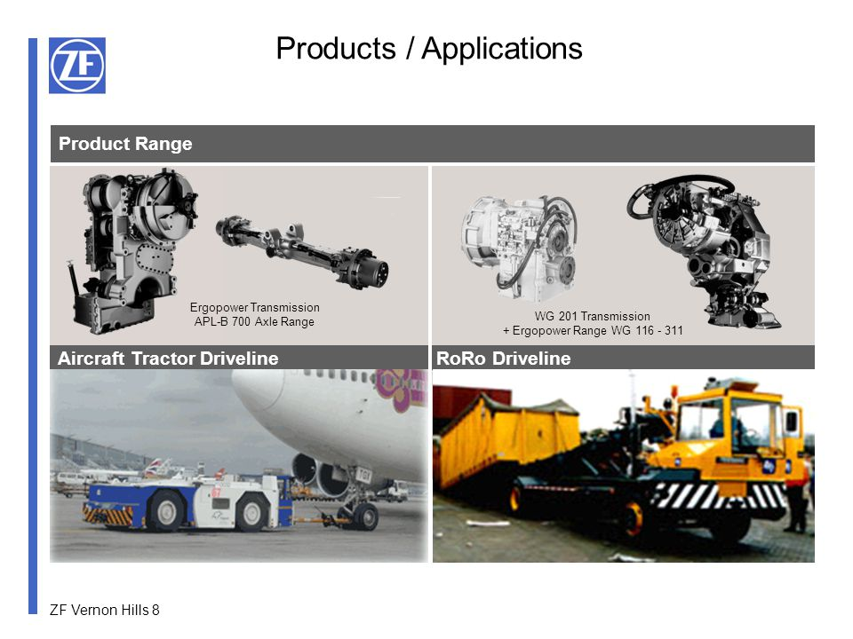 ZF Vernon Hills 9 Compact Wheel Loader Driveline Specialty Vehicles Product Range Ergopower Transmission Range AP-R700/Multitrac Axle Range AP-R Axle Range Products / Applications