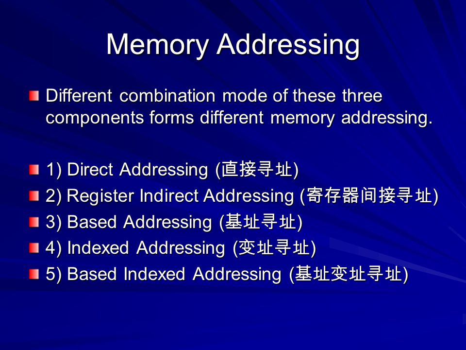 Memory Addressing Different combination mode of these three components forms different memory addressing. 1) Direct Addressing ( 直接寻址 ) 2) Register In