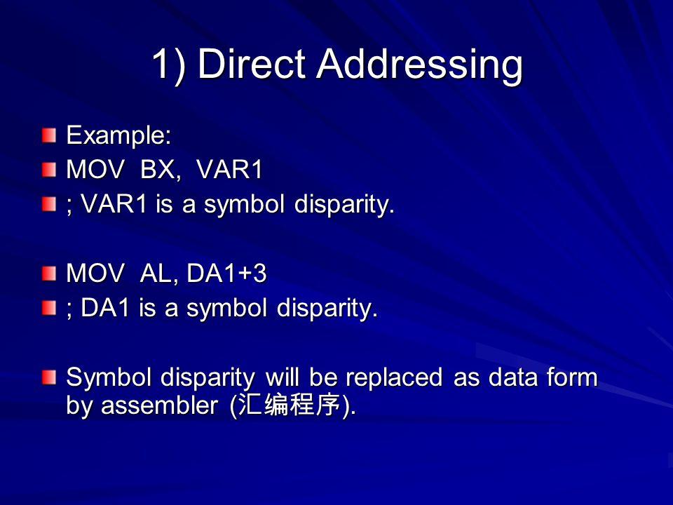 1) Direct Addressing Example: MOV BX, VAR1 ; VAR1 is a symbol disparity. MOV AL, DA1+3 ; DA1 is a symbol disparity. Symbol disparity will be replaced
