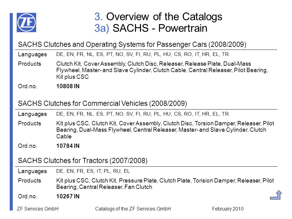"""ZF Services GmbH Catalogs of the ZF Services GmbH February 2010 4b) Download Catalogs from the WebCat By selecting the menu item """"Catalog Download you can find all current catalogs sorted by the following categories:  SACHS – Powertrain  SACHS – Suspension  LEMFÖRDER – Steering and Suspension PC  LEMFÖRDER – Steering and Suspension CV  LEMFÖRDER – Rubber to Metal  LEMFÖRDER – Transmission Parts  BOGE – Suspension  ZF Parts – Steering Components  ZF Parts – Wearing Parts on Axles"""
