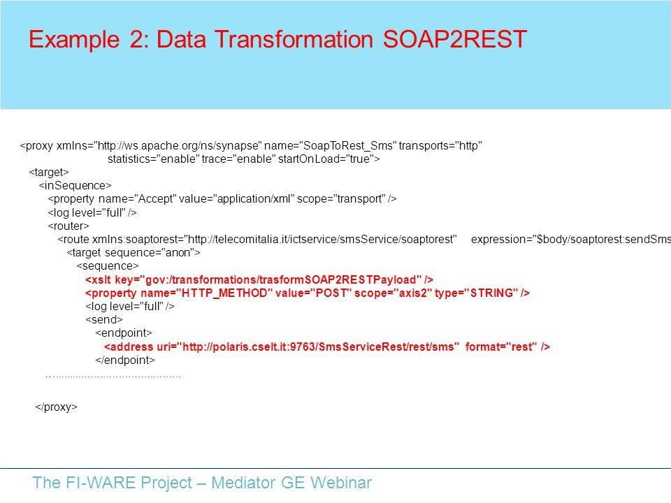 The FI-WARE Project – Mediator GE Webinar Example 2: Data Transformation SOAP2REST <proxy xmlns=