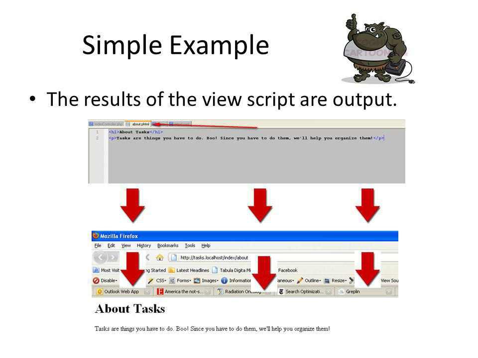 Simple Example The results of the view script are output.