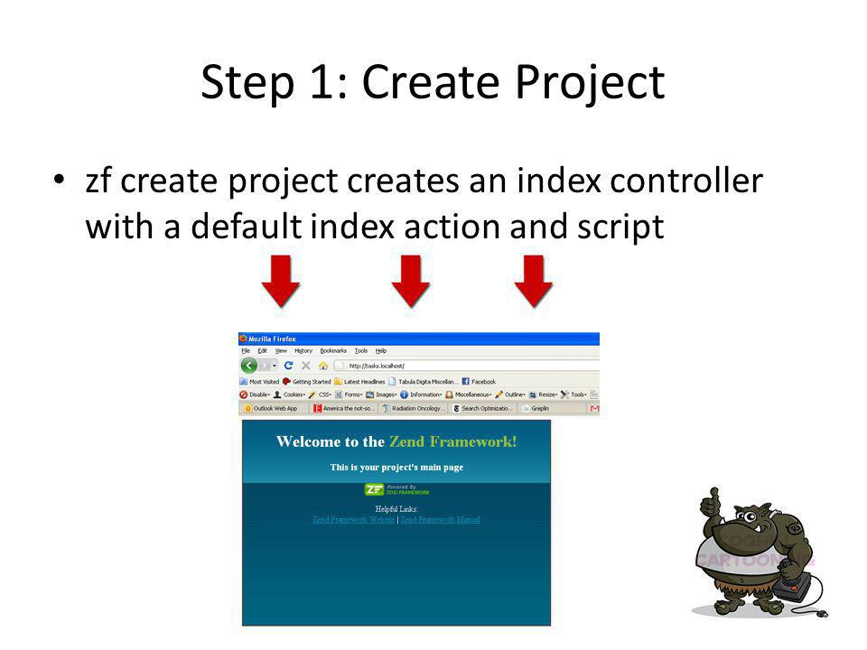 Step 1: Create Project zf create project creates an index controller with a default index action and script