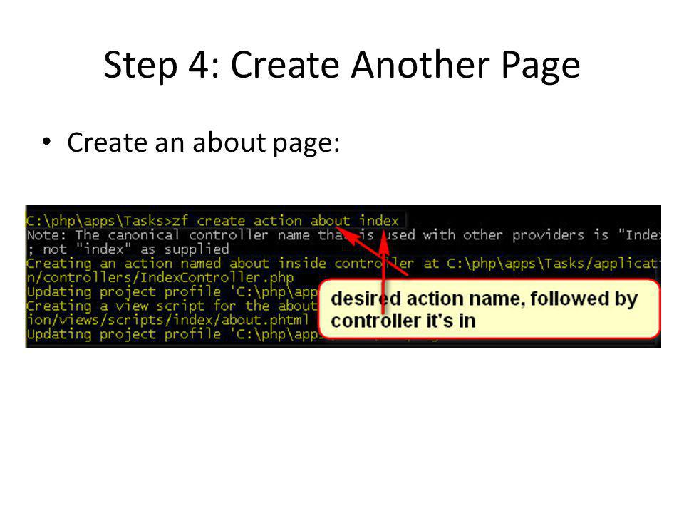 Step 4: Create Another Page Create an about page:
