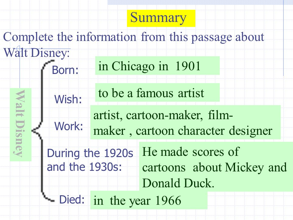 Summary Walt Disney Complete the information from this passage about Walt Disney: Born: Wish: Work: During the 1920s and the 1930s: Died: in Chicago in 1901 to be a famous artist in the year 1966 artist, cartoon-maker, film- maker, cartoon character designer He made scores of cartoons about Mickey and Donald Duck.