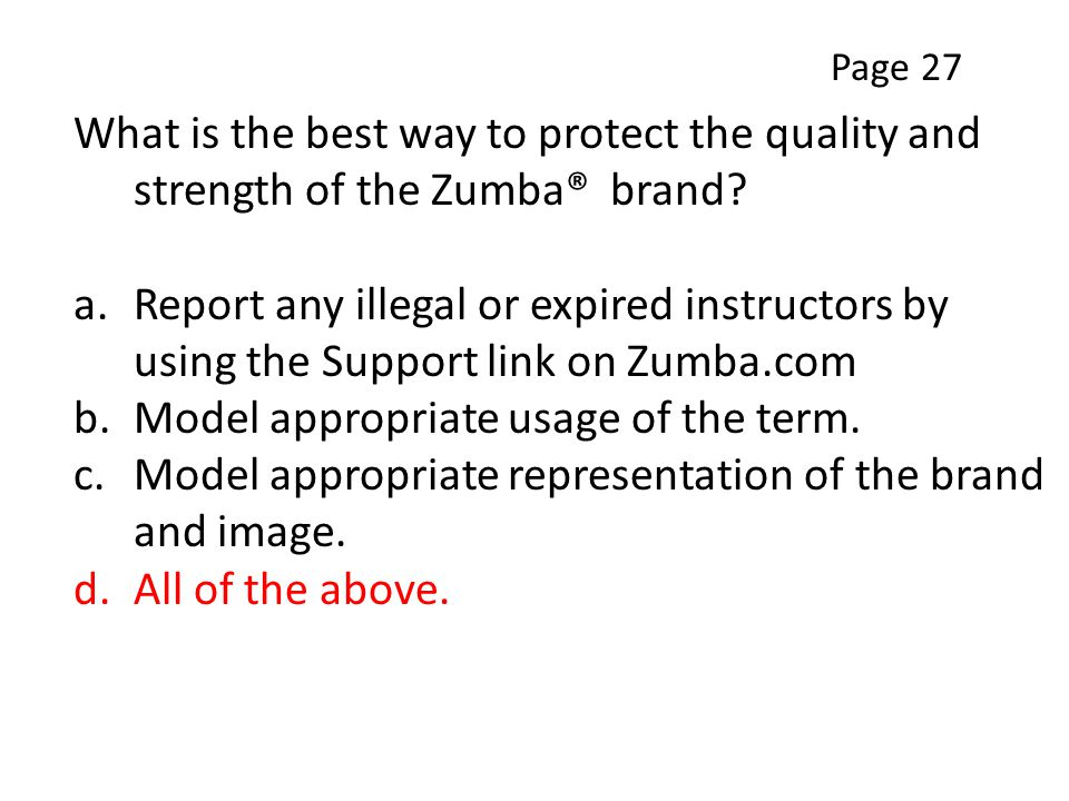 What is the best way to protect the quality and strength of the Zumba® brand.