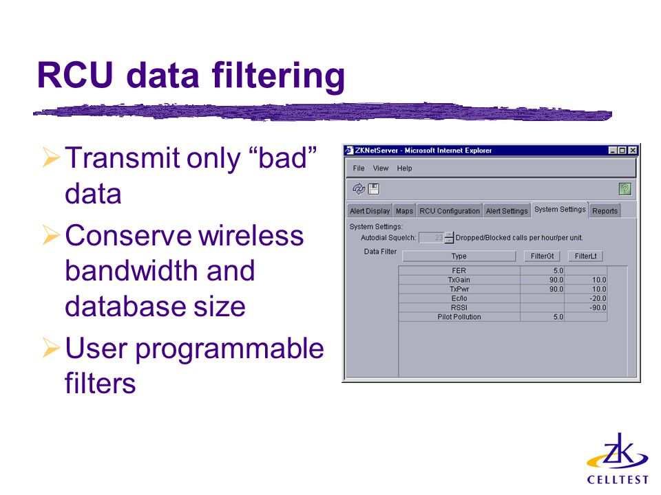 "RCU data filtering  Transmit only ""bad"" data  Conserve wireless bandwidth and database size  User programmable filters"