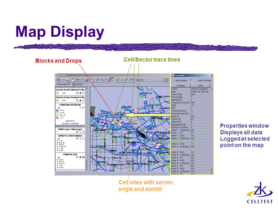 Map Display Blocks and Drops Cell/Sector trace lines Properties window Displays all data Logged at selected point on the map Cell sites with sector, a