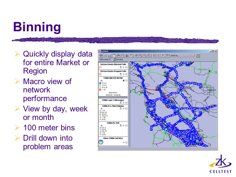 Binning  Quickly display data for entire Market or Region  Macro view of network performance  View by day, week or month  100 meter bins  Drill d