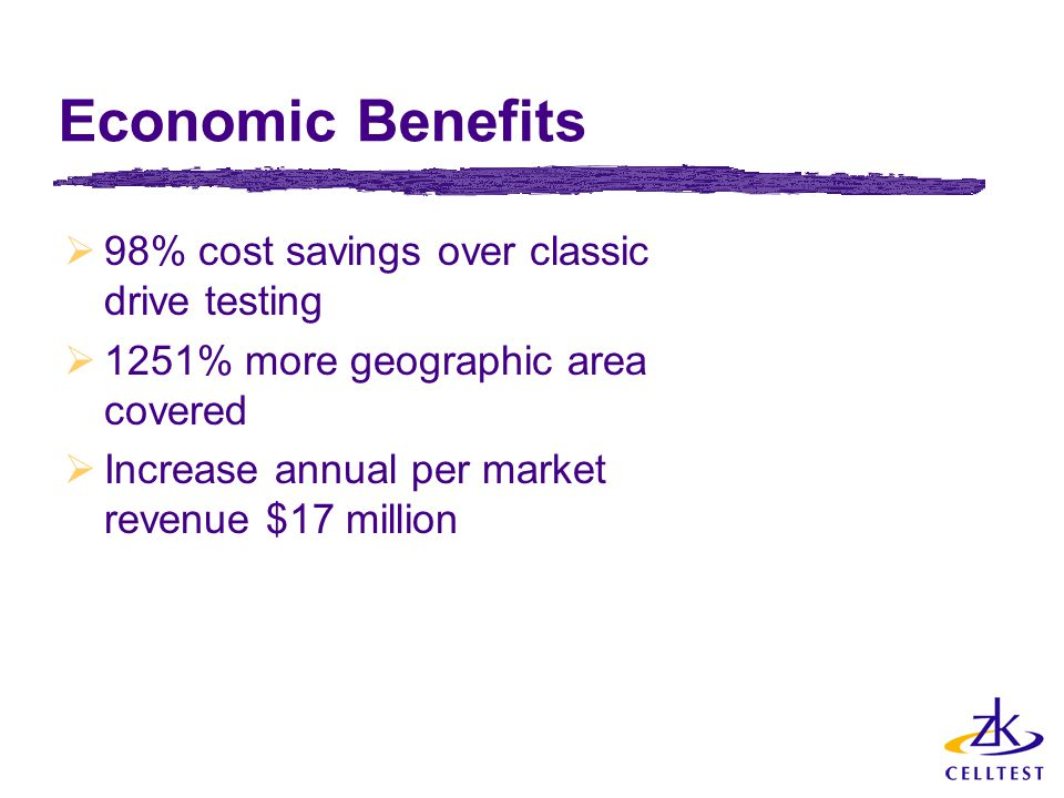 Economic Benefits  98% cost savings over classic drive testing  1251% more geographic area covered  Increase annual per market revenue $17 million