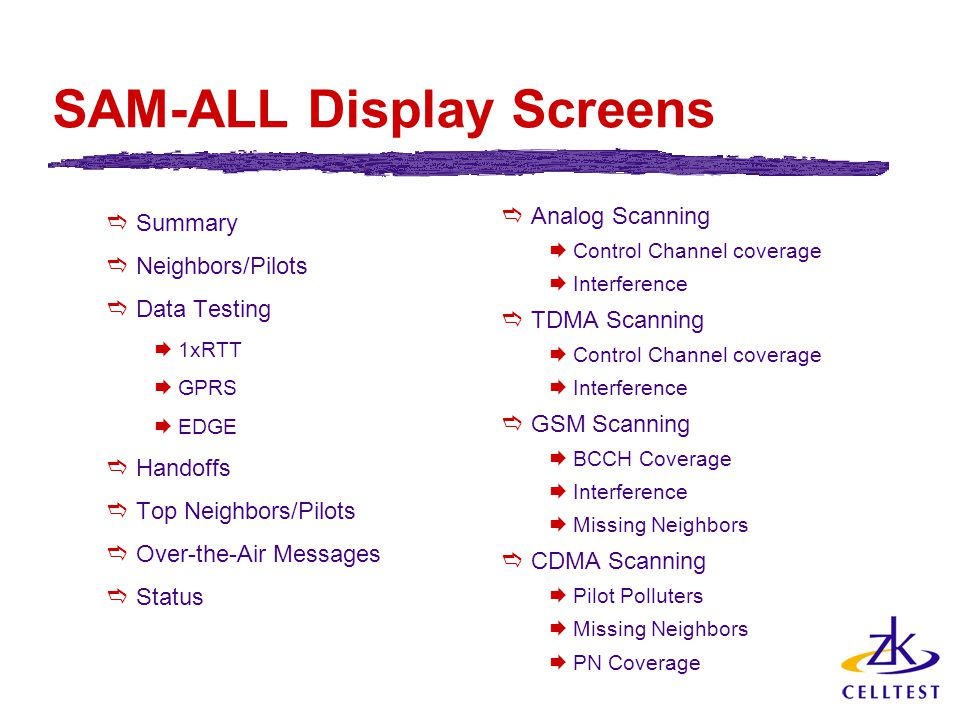 SAM-ALL Display Screens  Summary  Neighbors/Pilots  Data Testing  1xRTT  GPRS  EDGE  Handoffs  Top Neighbors/Pilots  Over-the-Air Messages  Status  Analog Scanning  Control Channel coverage  Interference  TDMA Scanning  Control Channel coverage  Interference  GSM Scanning  BCCH Coverage  Interference  Missing Neighbors  CDMA Scanning  Pilot Polluters  Missing Neighbors  PN Coverage