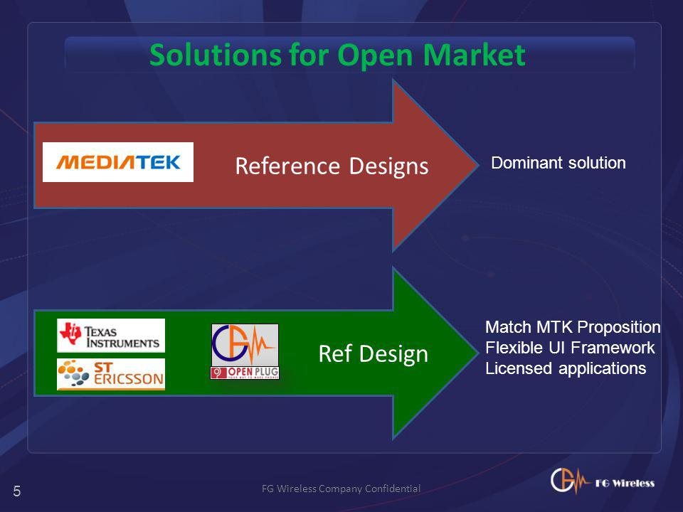Solutions for Open Market FG Wireless Company Confidential Reference Designs + Ref Design Match MTK Proposition Flexible UI Framework Licensed applications Dominant solution 5