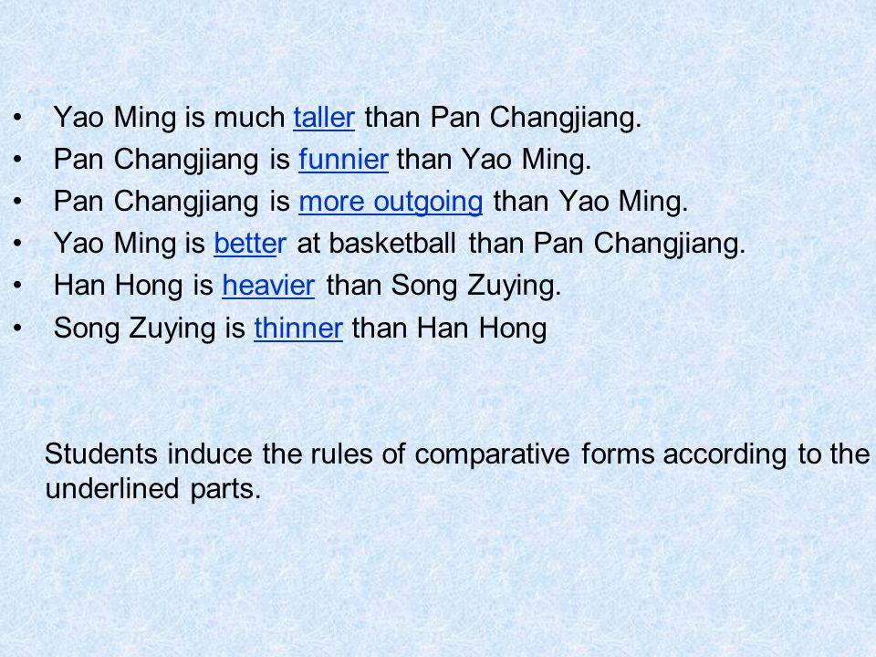 Yao Ming is much taller than Pan Changjiang.Pan Changjiang is funnier than Yao Ming.