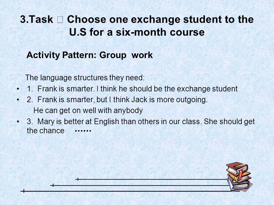 3.Task Ⅱ Choose one exchange student to the U.S for a six-month course Activity Pattern: Group work The language structures they need: 1.