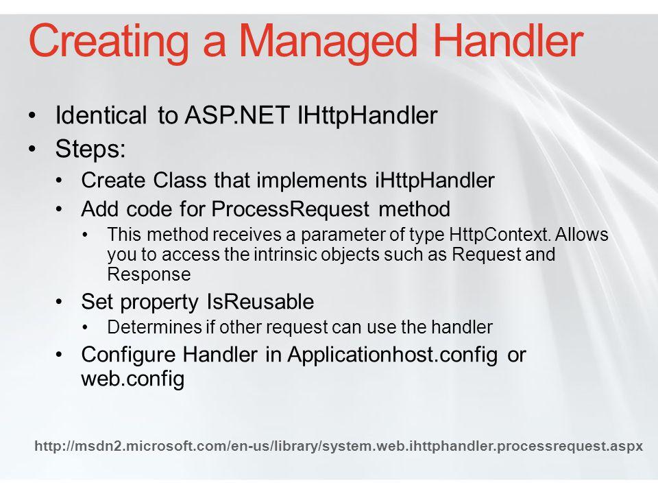 Examining a Custom Managed Handler