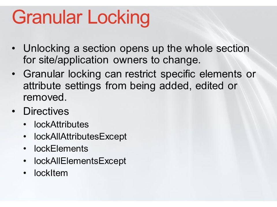 Granular Locking