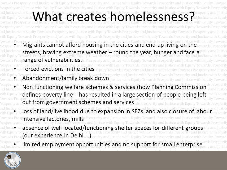 What creates homelessness.