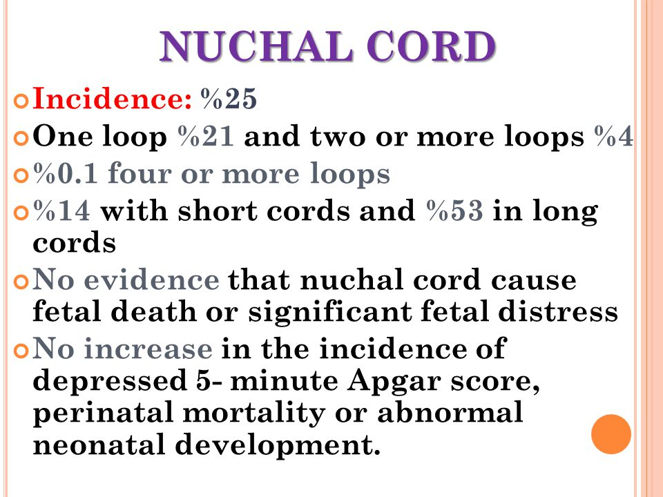 NUCHAL CORD Incidence: %25 One loop %21 and two or more loops %4 %0.1 four or more loops %14 with short cords and %53 in long cords No evidence that n