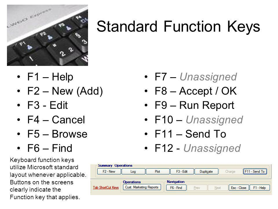 Standard Function Keys F1 – Help F2 – New (Add) F3 - Edit F4 – Cancel F5 – Browse F6 – Find F7 – Unassigned F8 – Accept / OK F9 – Run Report F10 – Una