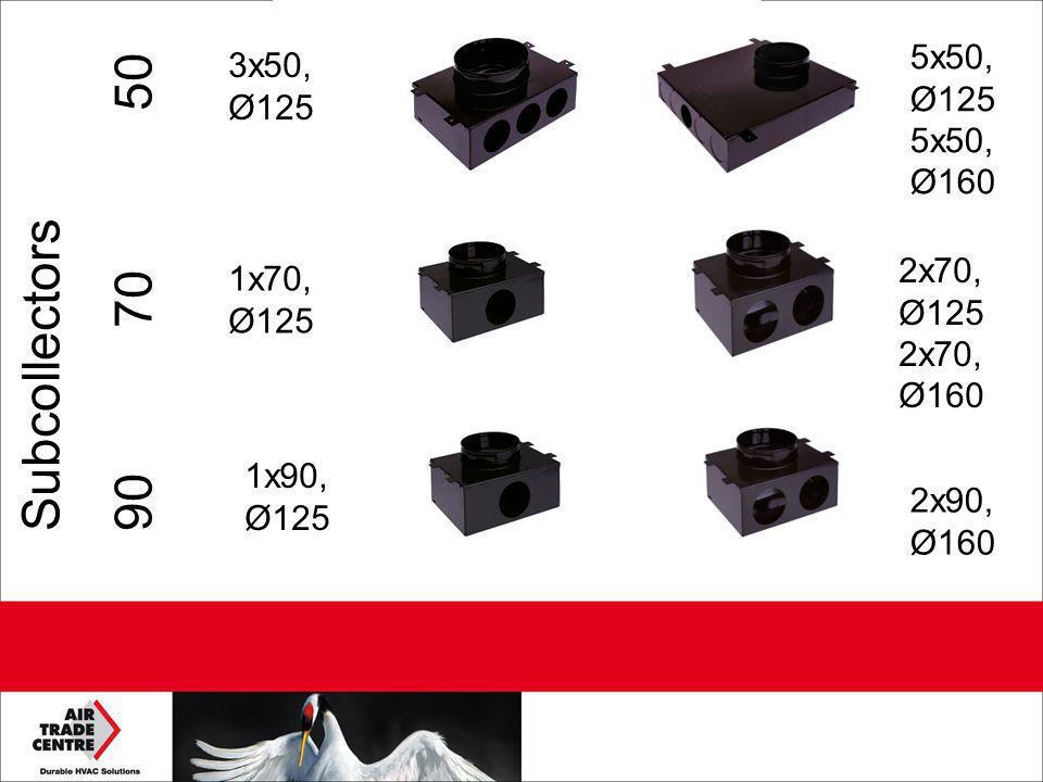 Subcollectors 90 70 50 3x50, Ø125 5x50, Ø125 5x50, Ø160 1x70, Ø125 2x70, Ø125 2x70, Ø160 1x90, Ø125 2x90, Ø160