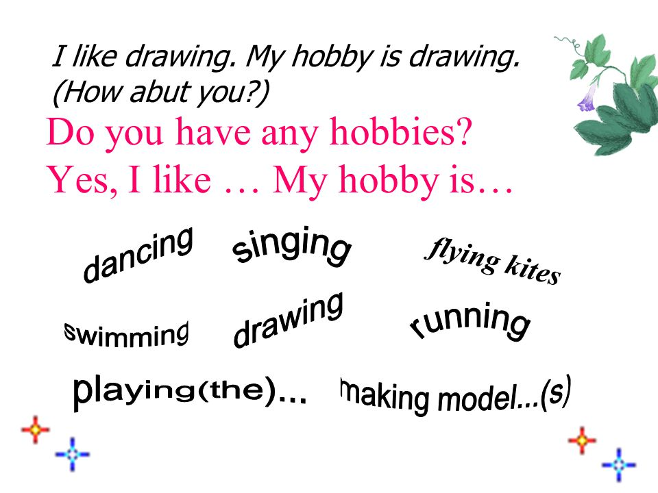 ★ My hobbies What ' s his/her hobby? He (She) likes … His (Her) hobby is …