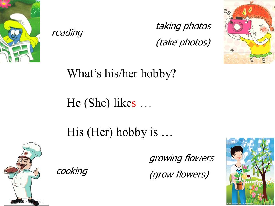 What's his/her hobby? He (She) likes … His (Her) hobby is … reading taking photos (take photos) cooking growing flowers (grow flowers)