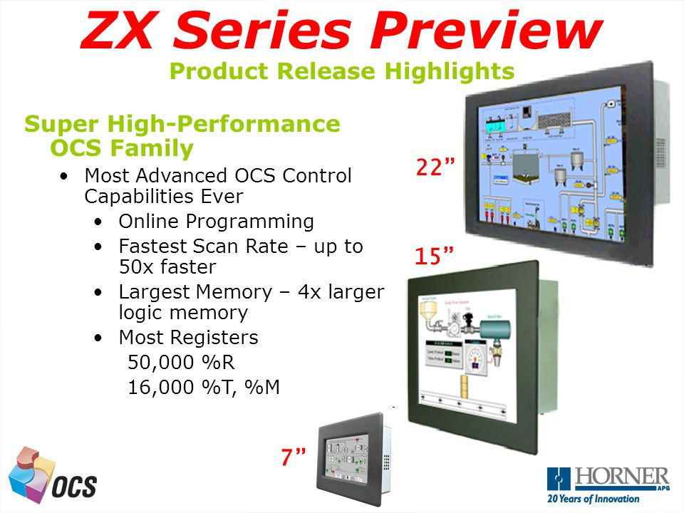 A Next Generation OCS Super High-Performance OCS Family Most Advanced OCS Control Capabilities Ever Online Programming Fastest Scan Rate – up to 50x faster Largest Memory – 4x larger logic memory Most Registers 50,000 %R 16,000 %T, %M 7 15 ZX Series Preview Product Release Highlights 22