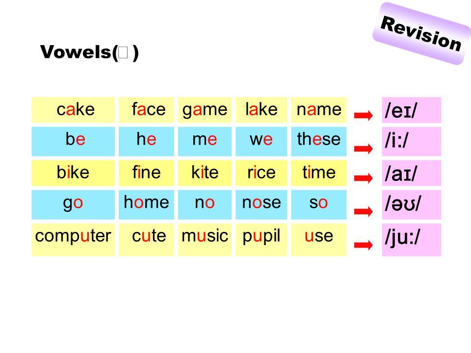 cake facegamelakename /e ɪ / behehememewewethese /i:/ bikefinekitericetime /a ɪ / gogohomenononosesoso /ə ʊ / computer cutemusicpupiluse /ju:/ Vowels( Ⅰ ) Revision