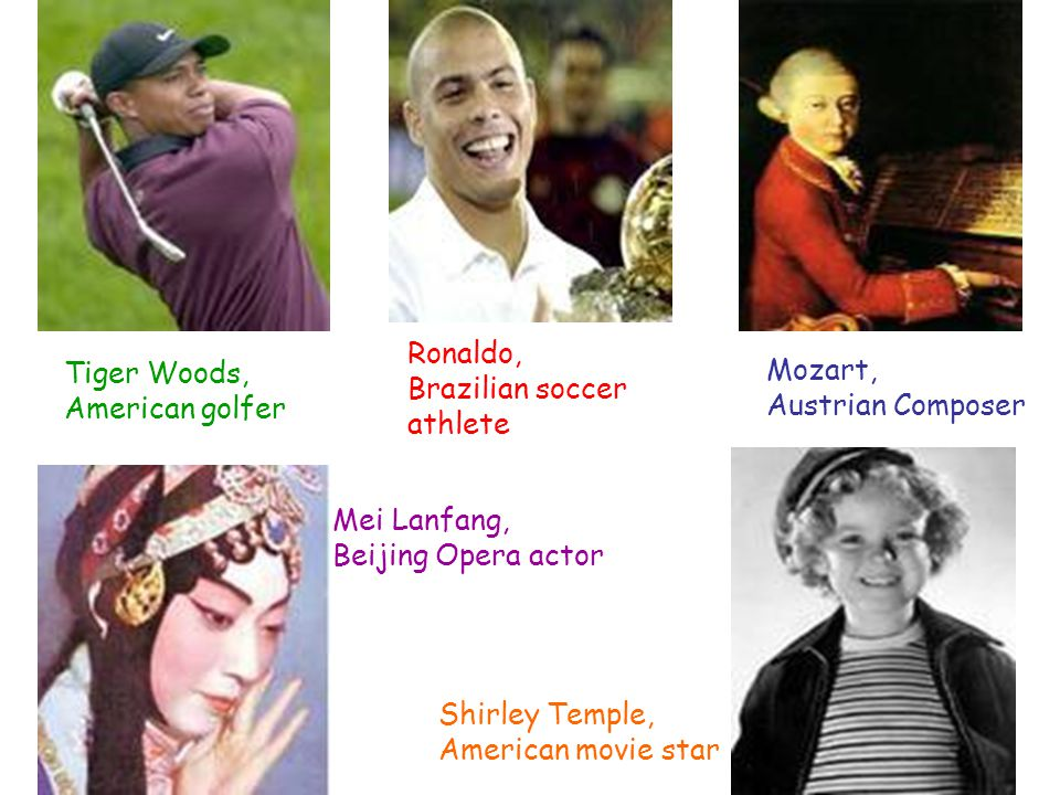Tiger Woods, American golfer Mozart, Austrian Composer Ronaldo, Brazilian soccer athlete Mei Lanfang, Beijing Opera actor Shirley Temple, American movie star