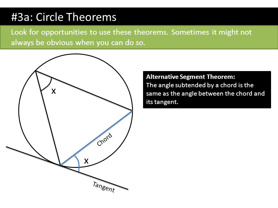 #3a: Circle Theorems Look for opportunities to use these theorems. Sometimes it might not always be obvious when you can do so. x x Alternative Segmen