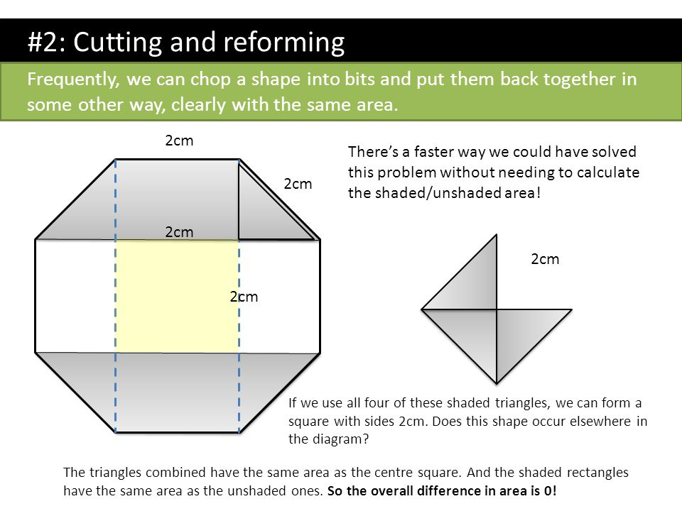 There's a faster way we could have solved this problem without needing to calculate the shaded/unshaded area! #2: Cutting and reforming 2cm Frequently