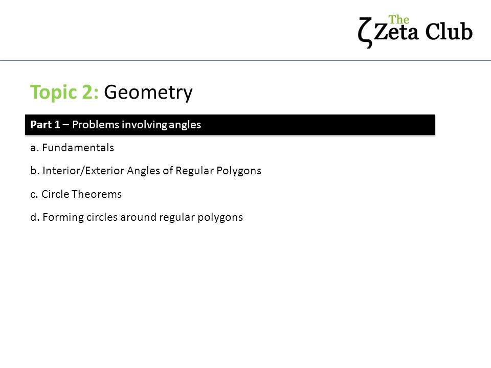 Topic 2: Geometry Part 2 – Problems involving lengths and areas a.