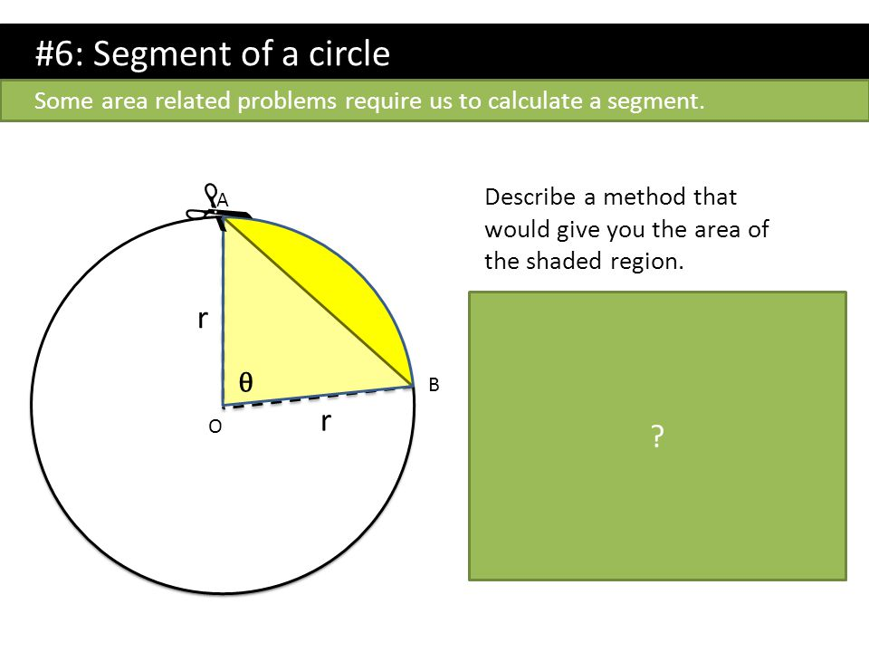 #6: Segment of a circle Describe a method that would give you the area of the shaded region. Method: Start with the sector AOB. (area is ( θ /360) x π