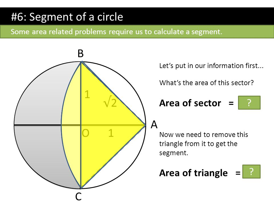 #6: Segment of a circle A 1 1 √2√2 O B C Let's put in our information first... What's the area of this sector? Area of sector = π /2 ? Now we need to