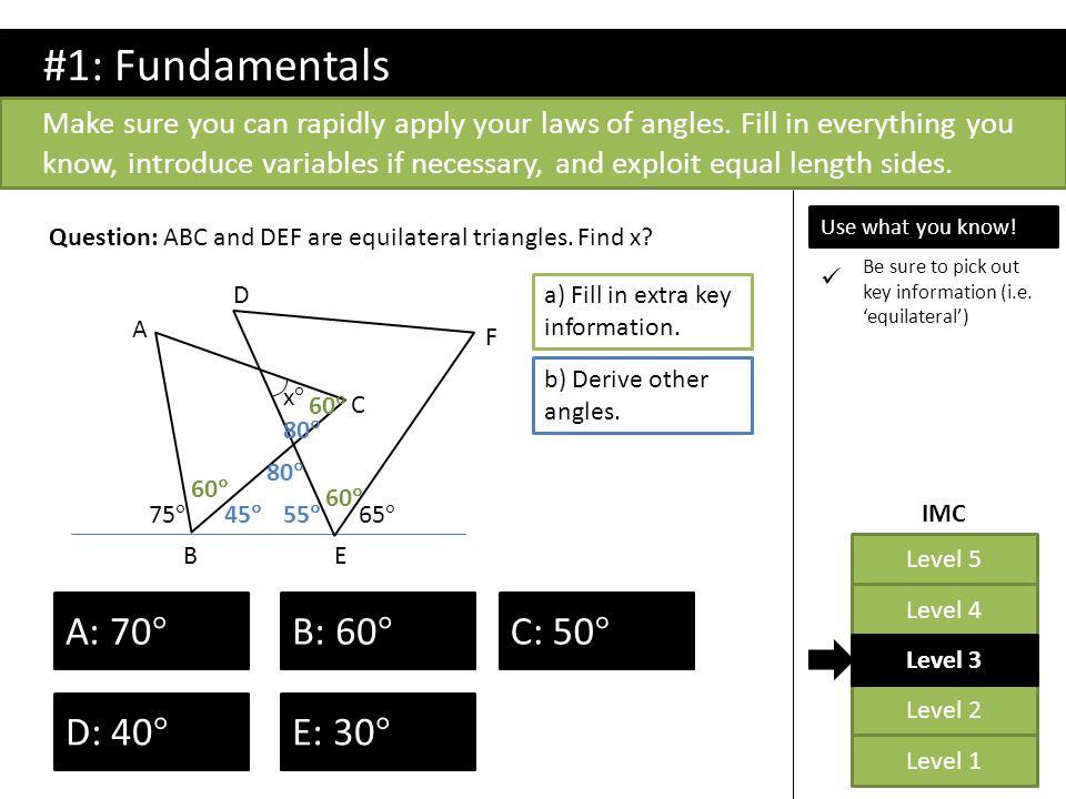 Level 2 Level 1 Level 5 Level 4 Level 3 IMC Question: What is angle BAC.
