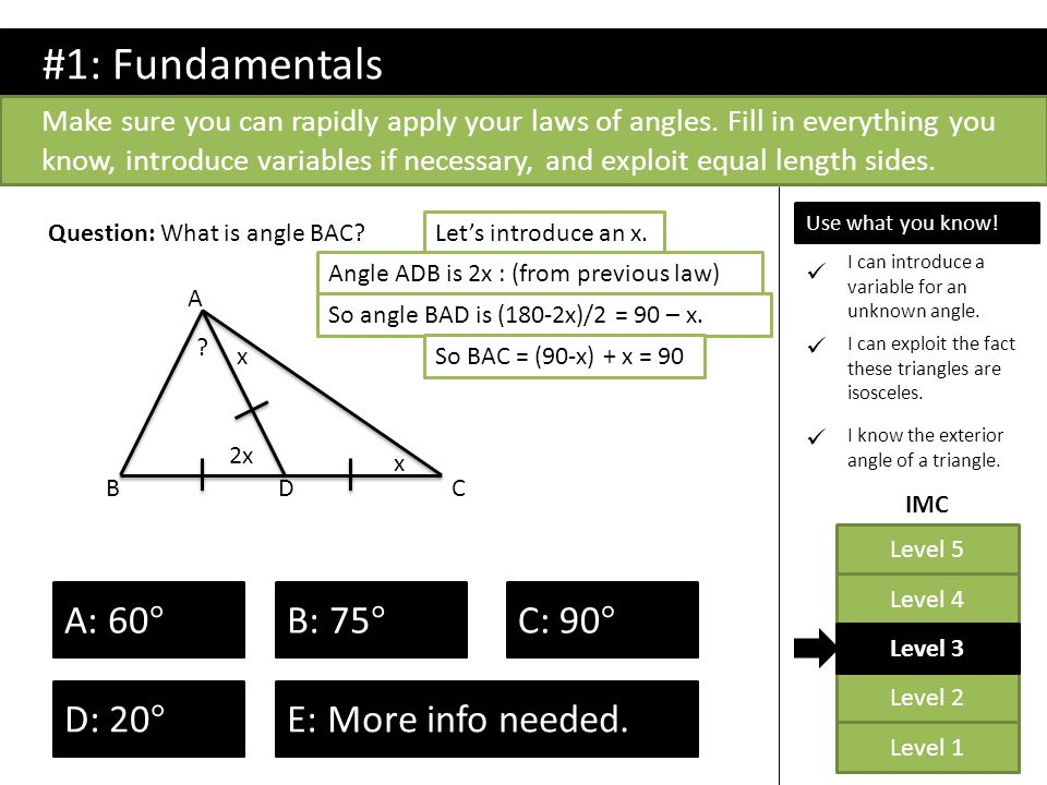 Level 2 Level 1 Level 5 Level 4 Level 3 IMC Which of these triangles are right-angled.