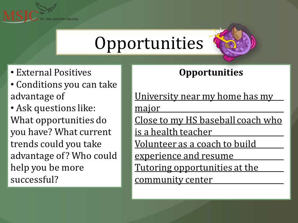 Opportunities External Positives Conditions you can take advantage of Ask questions like: What opportunities do you have.
