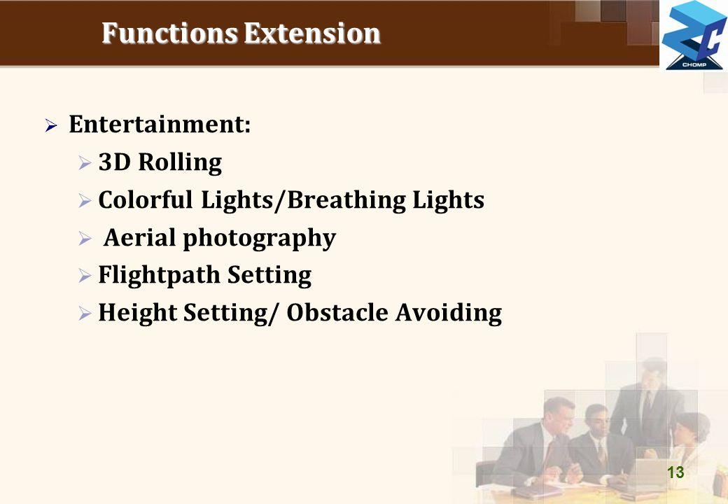 Functions Extension  Entertainment:  3D Rolling  Colorful Lights/Breathing Lights  Aerial photography  Flightpath Setting  Height Setting/ Obsta