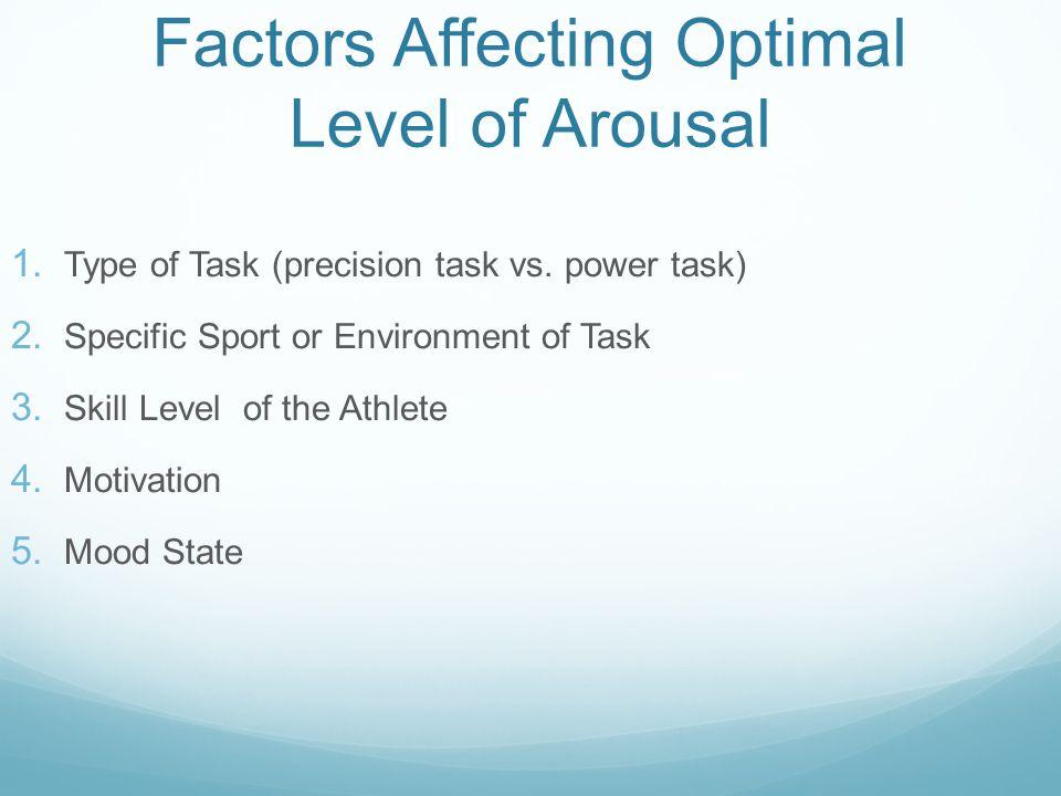 Factors Affecting Optimal Level of Arousal 1. Type of Task (precision task vs.