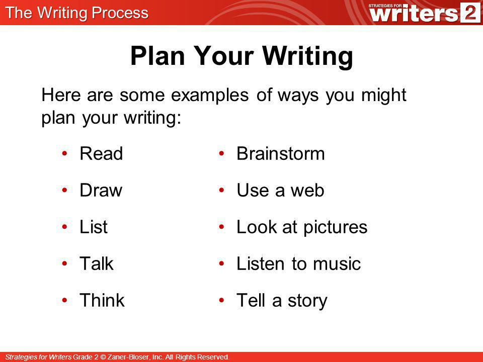 Strategies for Writers Grade 2 © Zaner-Bloser, Inc. All Rights Reserved. Plan Your Writing Read Draw List Talk Think Brainstorm Use a web Look at pict