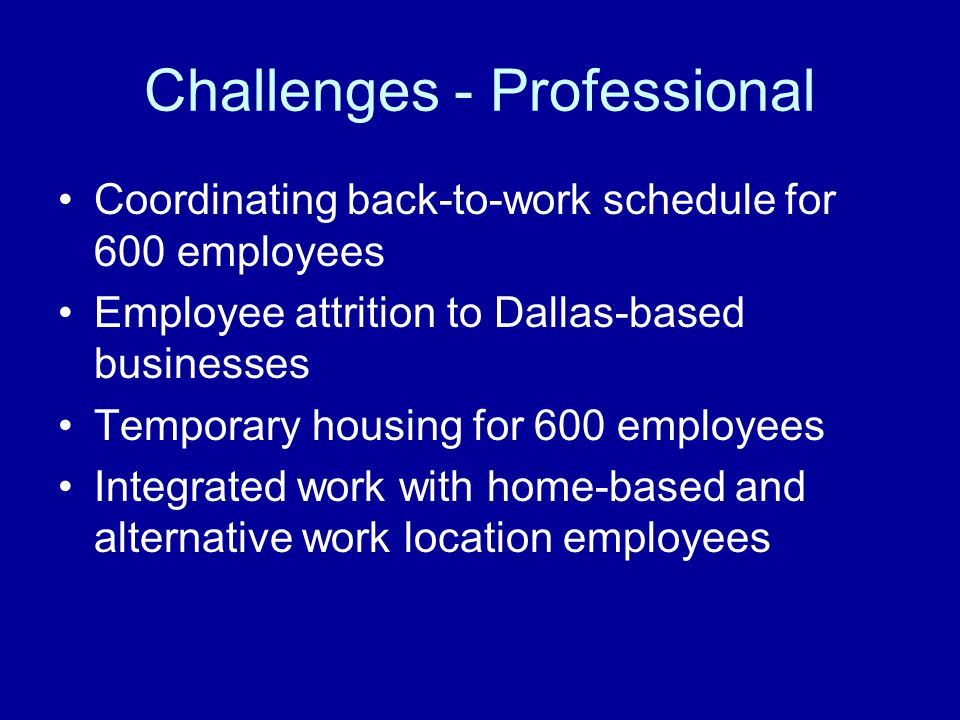 Challenges - Professional Coordinating back-to-work schedule for 600 employees Employee attrition to Dallas-based businesses Temporary housing for 600 employees Integrated work with home-based and alternative work location employees