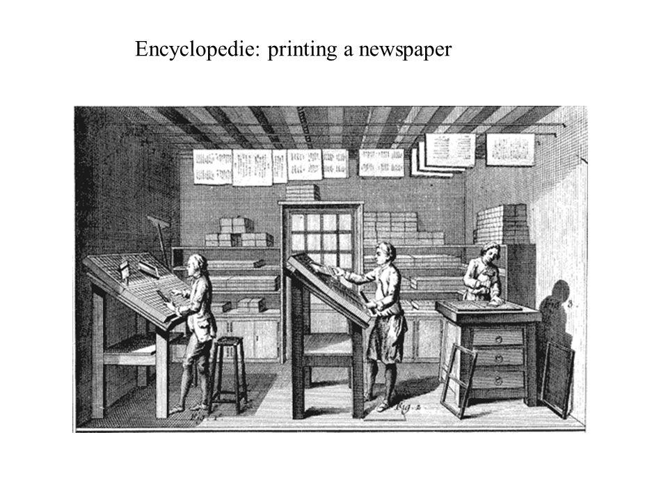 Encyclopedie: printing a newspaper