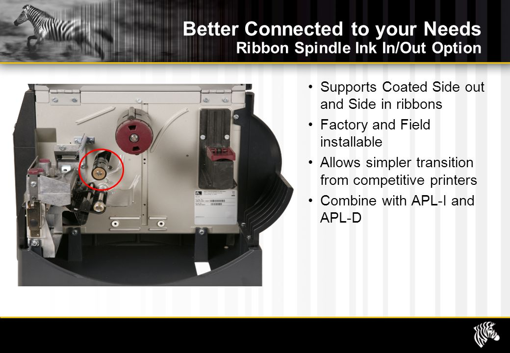 Better Connected to your Needs Ribbon Spindle Ink In/Out Option Supports Coated Side out and Side in ribbons Factory and Field installable Allows simpler transition from competitive printers Combine with APL-I and APL-D