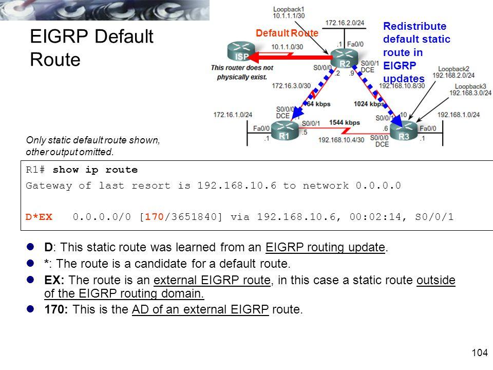 104 EIGRP Default Route R1# show ip route Gateway of last resort is 192.168.10.6 to network 0.0.0.0 D*EX 0.0.0.0/0 [170/3651840] via 192.168.10.6, 00: