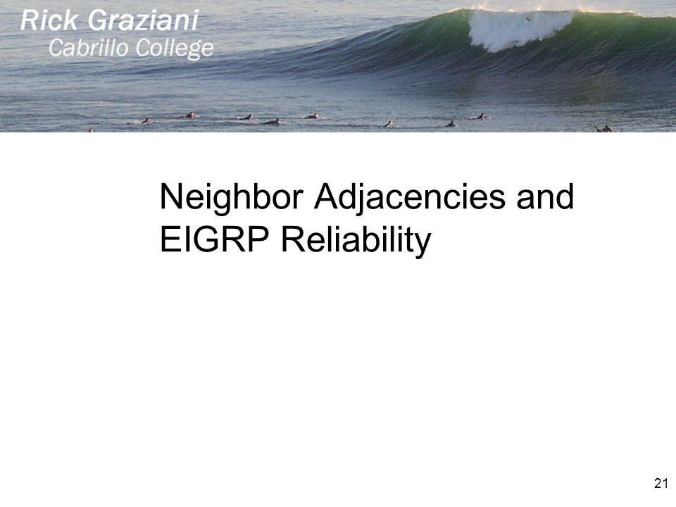 Neighbor Adjacencies and EIGRP Reliability 21
