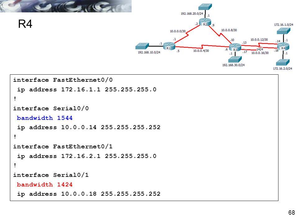68 R4 interface FastEthernet0/0 ip address 172.16.1.1 255.255.255.0 ! interface Serial0/0 bandwidth 1544 ip address 10.0.0.14 255.255.255.252 ! interf