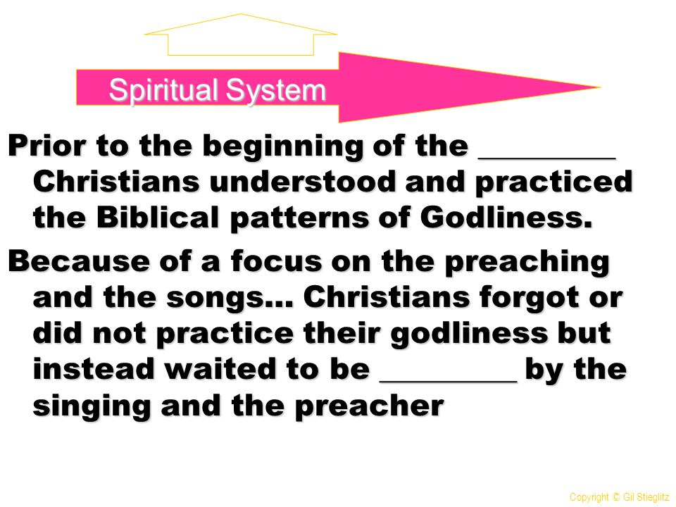 Prior to the beginning of the _________ Christians understood and practiced the Biblical patterns of Godliness. Because of a focus on the preaching an